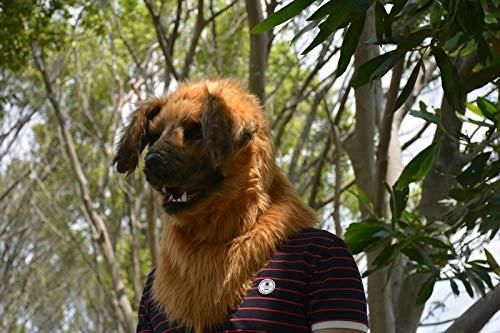 Realistische Tiermaske Pelzige Maske Gelbe Hundemaske Bewegliche Mundmaske Simulation Tiermaske for Halloween Tierkarneval Party Masken (Color : Yellow) (Realistische Tiermaske)