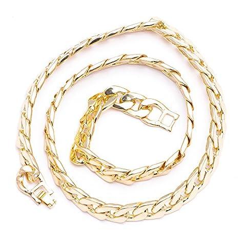 Herren 's New vergoldet Eisen 12 mm 61 cm geschoben kubanischen Hip Hop Bling Kette Halskette