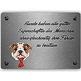 Feeby Bild auf Metall Zitat Poster Art Wanddeko Bulldog Slogan Hund Grau 40x30 cm