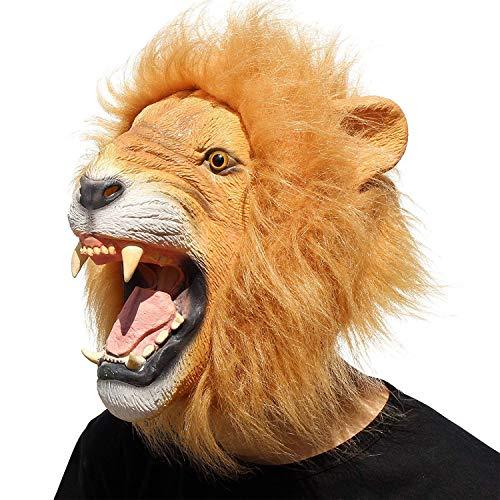 MU Masquerade Deluxe Neuheit Halloween Kostüm Party Latex Tier Black Cat Head Mask,Brown King Lion