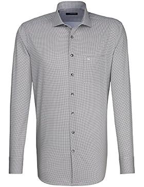 Seidensticker Herren Langarm Hemd Splendesto Regular Fit Spread Kent grau / weiß gepunktet 110740.33 (47, Grau)