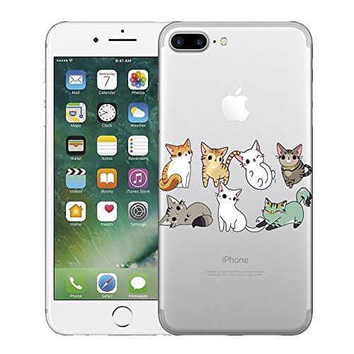 Coque iPhone 7 Plus,Vanki® impression loup Housse Transparente , Housse TPU Souple Etui de Protection Silicone Case Soft Gel Cover Anti Rayure Anti Choc pour Iphone7 Plus 5.5 Inch 5
