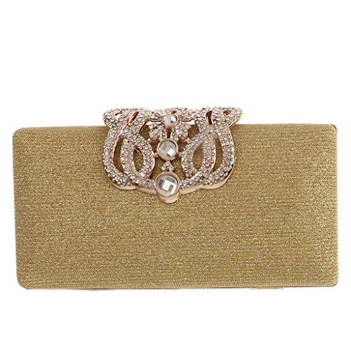 Gazechimp Damen Tasche Mädchen Clutch Bag Handtasche Party Hochzeit Cocktail Kupplung Geldbörse Brieftasche Handtasche Schulterketten - Gold (Gold-abend-geldbeutel)