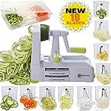 Brieftons - Spiralizzatore a 10 lame: affettatrice a spirale per verdure, per spaghetti a basso contenuto di carbo/paleo/glutine, con contenitore per lame, contenitore, coperchio e 4 eBook di ricette