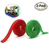 Nastro adesivo autoadesivo riutilizzabile del silicone, compatibile con la costruzione della raccolta di Lego, giocattoli educativi di immaginazione di ispirazione, 2 viti prigioniere (Rosso + Verde)