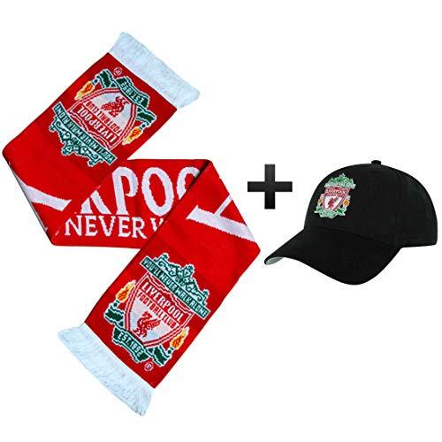 L.F.C Offizielles Liverpool FC Ultimate Football Fans Baseballmütze und Schal Match Day Geschenkset -