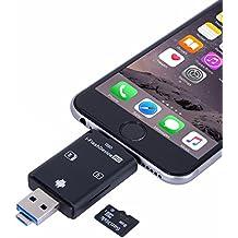Adaptador Con Lector Para Tarjetas Externas de Memoria Flash de Alta Velocidad USB a Micro SD Tarjeta/USB/SDHC/TF/OTG 5 en 1, Valido Para Phone, iPad, PC y Android por Okapia(Negro)