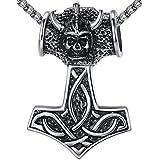 Aoiy - Collar con colgante de hombre de acero inoxidable, grande y pesado, nudo celta, Martillo de Thor vikingo, cadena de 61cm, aap101