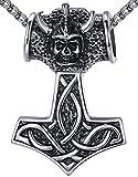 Aoiy Herren-Halskette mit Anhänger, groß und schwer, keltischer Knoten, Thors Hammer, Edelstahl, 61cm Kette, aap101