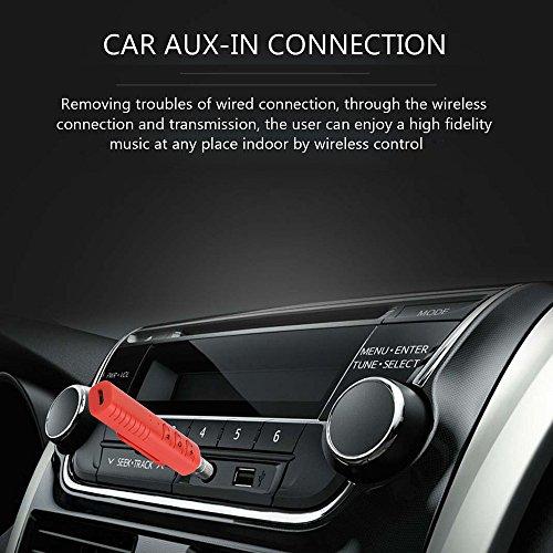 Kit Ricevitore Bluetooth 4.1 Adattatore Audio Portatile per Sistema di Stereo in Auto e Casa, e per Telefono Cellulare con 3,5 mm Jack Audio con Microfono,BT2 (Nero) Rosso