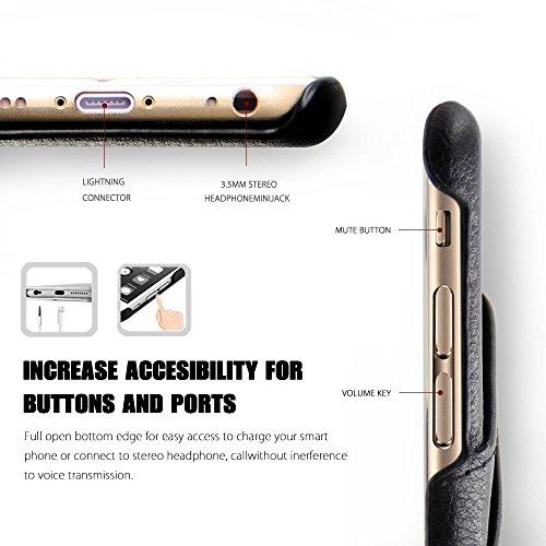 iPhone 7 Plus Coque , L2W [Slim Card Case] Série [Vintage Noir] cuir rectifié couverture arrière, Style classique d'affaires pour iPhone 7Plus (Taille normale - 5,5 pouces) gris
