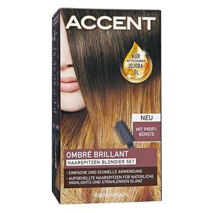 Accent Ombré Brillant Haarspitzen Blondier Set mit Profibürste - dauerhaft haltbar - für Mittelbond bis Dunkelbraun Haarspitzen Blondierset