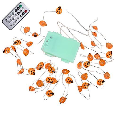 Kingko® Nette Marienkäfer-feenhafte Weihnachtsbeleuchtung,40 LED 10ft batteriebetriebene Dekorationen mit Dimmable Remote für Außen, Weihnachten Party Halloween,Hochzeit (Orange)