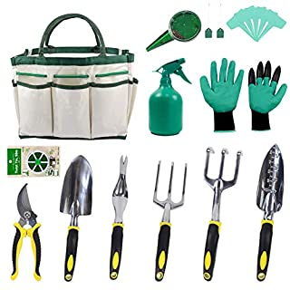 12Pcs Garden Tools Set with Stainless Gardening Tool,Tote Bag,Gardening Gloves,Seed Bag and Sower, Plant Labels,Plant Twist Ties- Best Gift for Gardener