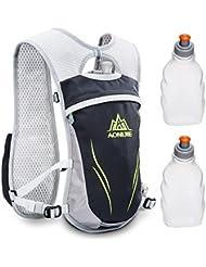 Geila Deportes al Aire Libre la Competencia de Maratón de Mochila de Hidratación con 2 Botellas de Agua (negro)