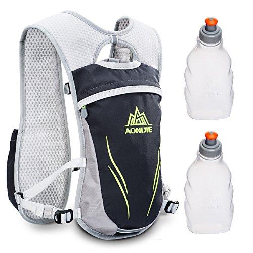 Geila Outdoors Sport Trail Marathonläufer Running Hydratationsrucksack Rucksack mit 2 Wasserflaschen (schwarz)