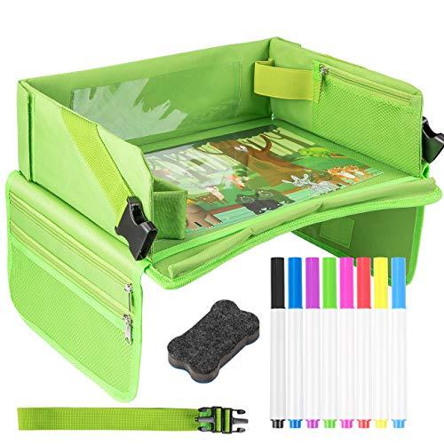 EXTSUD Kinder Reisetisch Kindersitz Spiel und Knietablett Reisetisch mit 1 Transparenter Zeichnungsfilm+4 Zeichenpapier+8 Farbstifte,Multifunktional Einstellbar Reisetablett Tragbar Esstisch Autositz -