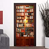 HhGold Die einfache gemütliche 3D-Dekoration Tür Poster und antike Bücher Schrankwand 77 * 200 cm