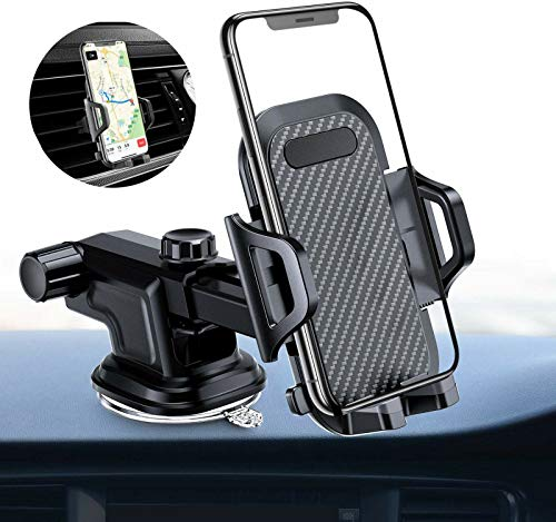 Car Phone Mount, Dashboard & Windshield Cell Phone Holder Stand for Car, Strong Stick Suck, One-Touch Design, Car GPS Cradle Compatible with iPhone Xs Max XR X 8 7 6, Galaxy S8 S9, LG G6 V20