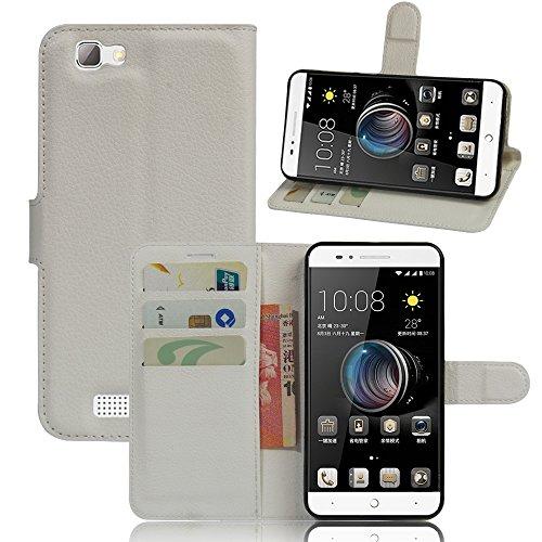 ZTE blade A610 Hülle, KuGi ® ZTE blade A610 Häuse- Hochwertige Ständer PU-Leder-Mappen-Kasten für ZTE blade A610 4G LTE Smartphone.(Weiß)