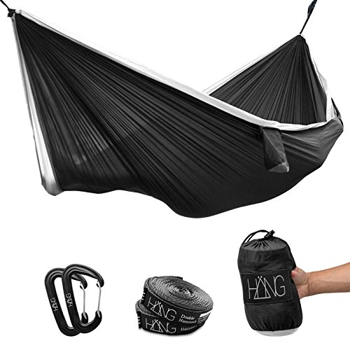 Hamac - Hamac en Soie parachute. 280 x 140 cm - charge maximale 200 kg en noir & blanc avec suspension