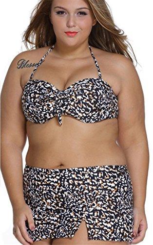 2 Pcs Stück Übergröße Neckholder Leopard Bikinioberteil Bikini Oberteil Top mit Hohe Taille Schwimmrock Badehose Swimwear Swimsuit Bademode Set 4XL (Lace Up Plus Size Höschen)