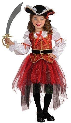 hübsche Pirat büchertag Kostüm Kleid Outfit 3 - 10 Jahre - Rot, Rot, 8-10 Years (Rotes Piraten-kleid)