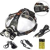 Boruit Led stirnlampe kopflampe 6000 Lumen XM-L2 T6 LED-Scheinwerfer kopflampe Stirnlampe led Scheinwerfer-Kopf-Lampen-Taschenlampe für Outdoor Sports Camping Wandern Angeln(Britische Ladegerät Technische Daten)