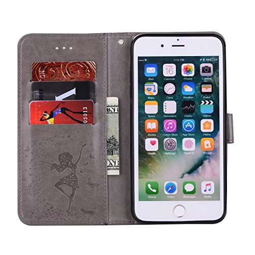Abnehmbare 2 in 1 Crazy Horse Texture PU Ledertasche, Fairy Girl Embossed Pattern Flip Stand Case Tasche mit Lanyard & Card Cash Slots für iPhone 7 Plus ( Color : Rosegold ) Gray