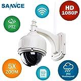 SANNCE 1080P 5X ZOOM IP Cámara de Vigilancia Inalámbrica Metal de seguridad PTZ IR Visión nocturna Detección de movimiento enfoque automático con Micrófono y Altavoz