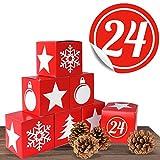 Adventskalender Red Christmas Boxen im Set mit 24 Zahlenaufklebern für einen DIY Adventskalender zum Basteln und Befüllen
