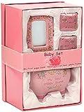 BRUBAKER - Coffret cadeau Bébé/Naissance - 4 Pièces - Ma première tirelire, Boîte à dents de lait, Boîte à mèche de cheveux & Cadre photo - Rose/Fille - Anglais