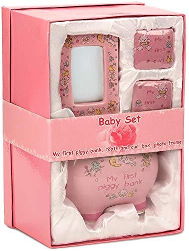BRUBAKER Set \'Mein erstes Sparschwein\', rosa für erstes Spargeld, erste Milchzähne, Haare und mit Bilderrahmen