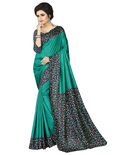 e-VASTRAM Womens Crepe Printed Art Silk Saree(V3114_Green)