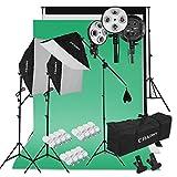 CRAPHY Fotostudio Set, 2000W Studioset mit 3x Softboxen und 12x Fotolampe(45W), Hintergrundsysteme mit 3x Hintergründe(Grün/Weiß/Schwarz), Profi Fotostudio Set für Greenscreen, Portrait, Videoaufnahme