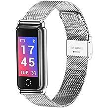 Braccialetto intelligente da donna Orologio sportivo da uomo Fitness Tracker Smartwatch Impermeabile cardiofrequenzimetro Monitor da polso Cinturino banda Y8 , Silver