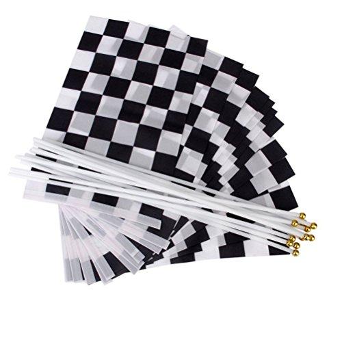 (Cikuso 12 STK geriffelt Formel 1 F1 Racing Banner Hand winkend Flags (Schwarz+Weiss))