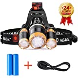 LED Stirnlampe, STCT Wiederaufladbare LED Kopflampe, 5000 Lumen wasserdichter Scheinwerfer mit 4 Helligkeits-Modi. ideal für Laufen, Höhlenforschung, Joggen, Fahrrad, Camping, Wandern usw