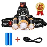 Rechargeable Head Torch, 5000 Lumens 4 Modes Waterproof Headlight, Adjustable CREE LED Headlamp Flashlight for Cycling, Running, Dog Walking, Camping, Hiking, Fishing, Night Reading and DIY Works (by STCT )