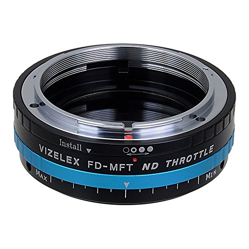 Fotodiox Vizelex ND Throttle Lens Mount Adapter kompatibel mit Canon FD/FL 35mm Lens Compatible with Micro Four Thirds (MFT M4/3) Mount Camera with Built-In Aperture Control and Variable ND Filter (1 to 8 Stops)