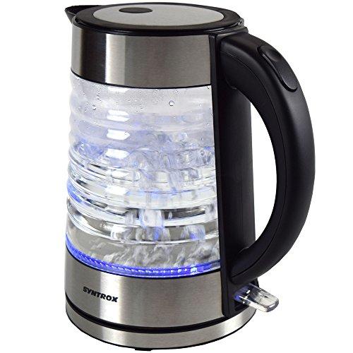 Syntrox Germany WK-2000W-1.7G Agua 2000 Watt 1,7 Liter Edelstahl schnurlos Glas Wasserkocher mit blauem LED Licht 360° cordess Wasserkessel Teekessel - 3