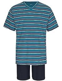 Herren Schlafanzug kurz Pyjama 100% Baumwolle Gr. M L XL XXL / 50 52 54 56