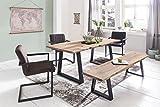FineBuy Massiver Esstisch Tree 160 x 80 x 76 cm Baumkante Akazie Holz Massiv | Esszimmertisch Massivholz Baumstamm | Esszimmer Holz Tisch Robust Küchentisch