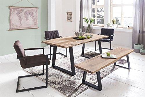 Massiver Esstisch TREE 140 x 80 x 76 cm Baumkante Akazie Holz Massiv | Esszimmertisch Massivholz Baumstamm | Esszimmer Holz Tisch Robust Küchentisch