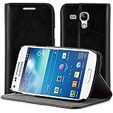 JAMMYLIZARD | Ledertasche für [ Samsung Galaxy S3 Mini ] Swiss Wallet Hülle, SCHWARZ mit integriertem Magnetverschluss