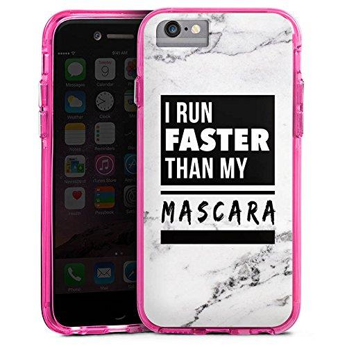 Apple iPhone 6s Plus Bumper Hülle Bumper Case Glitzer Hülle Mascara Beauty Statement Bumper Case transparent pink