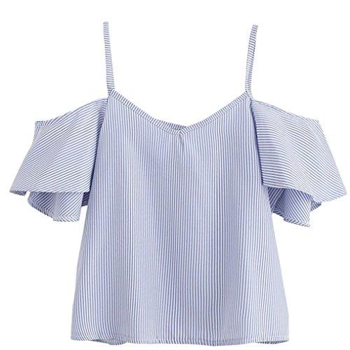 Tumblr Kostüm Mädchen (WOCACHI Damen Sommer T-Shirt Mode Frauen Sommer aus Schulter Kurzarm V-Ausschnitt Stripe Muster Camisole Blau Bluse Tops (M/34,)