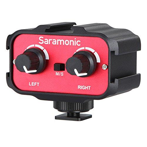 Saramonic SR-AX100 Pro Universelle Audio Mixer Adapter mit 3,5mm Eingänge für DSLR Kamera und Camcorder Mikrofone (1 Empfänger Phantom)