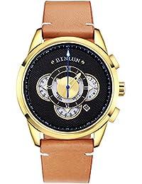 Reloj para Hombre BINLUN Reloj de Pulsera de Cuero de Cuarzo con Diseño de Cronógrafo y