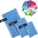 Mikrofaser Handtücher - 3 Stück: 70 x 140, 40 x 60 und 30 x 40 cm [Dunkelblau] Camping, Reise, Wandern, Sport, Kinder | leicht schnelltrockend und hochsaugfähig | 9 Farben